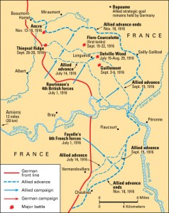 1916 Battle of the Somme Credit: WORLD BOOK map