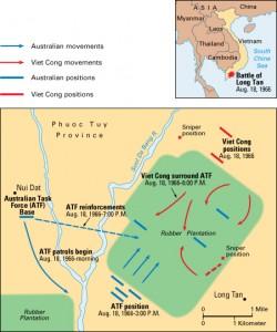 Battle of Long Tan. Credit: WORLD BOOK map