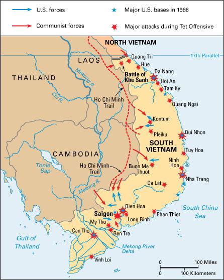 North Vietnam And South Vietnam Map.Tet Offensive 50 World Book