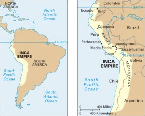 Click to view larger image The map on the left shows the location of the Inca empire along the western coast of South America. The empire included parts of what are now Colombia, Ecuador, Peru, Bolivia, Chile, and Argentina. The detailed map on the right shows some important Inca sites. These included the capital, Cusco, and its fortress, Sacsayhuaman, as well as the cities of Cajamarca, Machu Picchu, and Ollantaytambo. Credit: WORLD BOOK map